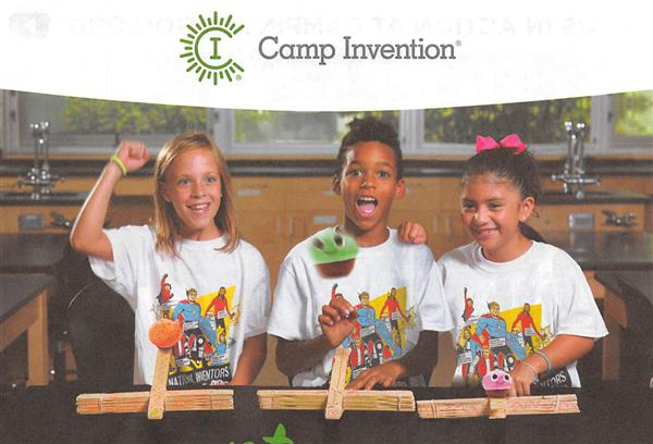 Camp Invention Poster. Three children smiling and cheering while conducting a science experiment.